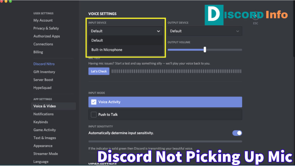 Discord not picking up the mic